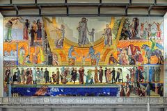 The oil painting on the south wall of Main Hall in Oslo City Hall, Norway Royalty Free Stock Photos