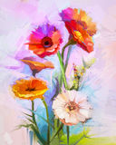 Oil painting of spring flowers. Still life of yellow and red gerbera flower Stock Photo