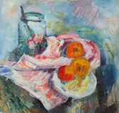 Oil painting. Still life with bottle and apples Stock Photo