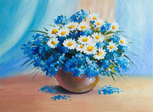 Oil Painting - still life, a bouquet of flowers Royalty Free Stock Image