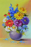 Oil Painting - still life, a bouquet of flowers Stock Photos