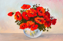 Oil painting still life, a bouquet of poppies in a vase, colorful. Royalty Free Stock Photography