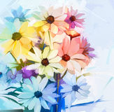 Oil painting still life of bouquet white cosmos flowers Royalty Free Stock Photo