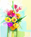 Oil painting still life of bouquet, yellow, red color flora. Gerbera, tulip, rose, green leaf in vase. Stock Illustration
