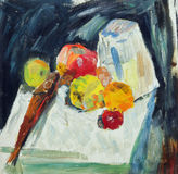 Oil painting. Still life with fish and apples. On the table Royalty Free Stock Photography