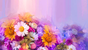 Oil Painting Still Life Of Yellow, Red And Pink Color Flower Stock Photo