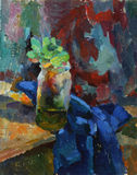 Oil painting. Still life with vase and plants Stock Photography