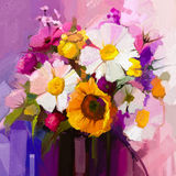 Oil painting still life of white, yellow and red flower Royalty Free Stock Photography