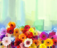 Oil Painting - Still life of yellow, red and pink color flower. Colorful Bouquet of daisy and gerbera flowers. Hand Paint floral Impressionist style Royalty Free Stock Photography