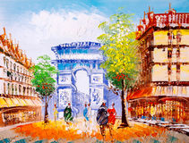 Oil Painting - Street View of Paris Royalty Free Stock Image