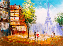 Oil Painting - Street View of Paris. Oil Painting about Street View of Paris vector illustration