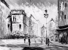 Oil Painting - Street View of Paris Royalty Free Stock Photos