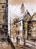 Oil Painting - Street View of Paris Stock Photos