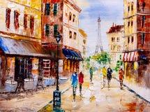 Oil Painting - Street View of Paris Stock Photo