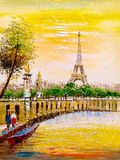 Oil Painting - Street View of Paris. Oil Painting about Street View of Paris Stock Image