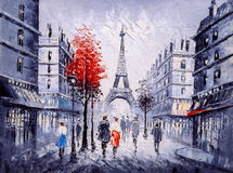 Oil Painting - Street View of Paris Stock Images