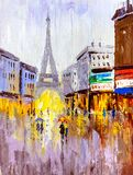 Oil Painting - Street View of Paris stock photography