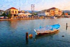 Traditional Greek Fishing Boat, Lefkada, Greece, Oil Painting Style. Oil painting style image of a colourful traditional wooden Greek fishing boat in the Lefkada royalty free stock photos