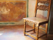 Hazy Light in Room With Chair, Oil Painting Style. An oil painting style image, hazy afternoon side light in a stucco room with antique wooden chair royalty free stock images