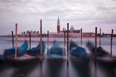 Oil painting style picture of gondolas in Venice Royalty Free Stock Image