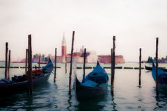 Oil painting style picture of gondolas in Venice Stock Image