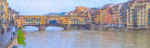 Oil painting style picture of Ponte Vecchio, Florence. Famous bridge with numerous shops, visited daily by thousands of tourists Stock Image
