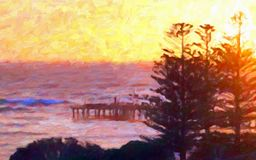 Oil Painting Style; Sunrise and Ocean Pier Royalty Free Stock Photography