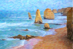 Oil Painting Style; The Twelve Apostles, Victoria, Australia Stock Photo