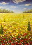 Oil painting summer landscape of a red ogange flower poppy field, blue sky clouds Vector Illustration