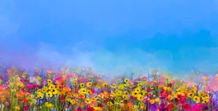 Oil painting of summer-spring flowers. Cornflower, daisy flower. Abstract art oil painting of summer-spring flowers. Cornflower, daisy flower in fields. Meadow