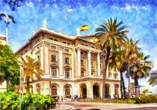 Oil painting summer street on Barcelona. S Royalty Free Stock Image