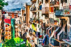 Oil painting summer street on Barcelona. Spain Stock Photos