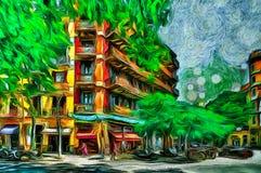 Oil painting summer street on Barcelona. Spain Royalty Free Stock Photos