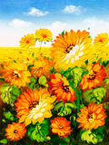 Oil Painting - Sunflower Stock Images