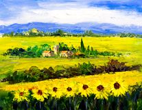 Oil Painting - Sunflower Royalty Free Stock Image