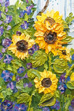 Oil Painting of Sunflowers Stock Photo