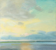 Oil painting of a sunset over a lake Stock Photo