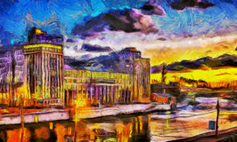 Oil painting sunset over the river in the city. Orange oil painting sunset over the river in the city Royalty Free Stock Photography