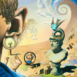 Oil Painting on surrealism. Original oil painting on canvas. In the style of Surrealism. The picture in full size Royalty Free Stock Photography