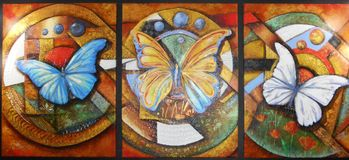 Oil painting of three multicolored butterflies in separate sectors royalty free stock photos
