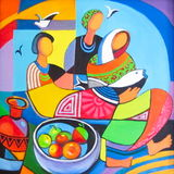 Oil painting Three women Stock Images