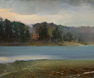 Landscape Oil Painting. The Oil Painting of the Tranquil Landscape Stock Photography