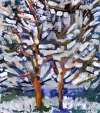 Oil painting tree stock photos