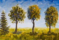 Oil painting trees in green grass against blue sky. Summer landscape tree nature royalty free illustration