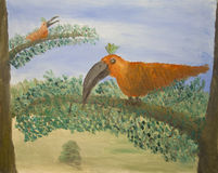Oil painting of tropical birds. With large beaks and orange feathers in trees Stock Photos