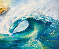 Oil painting. Tsunami hits shore Royalty Free Stock Images