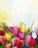 Oil painting tulip flower. Field . Hand painted white, yellow, red flowers in soft color with light yellow background. Abstract floral paintings in the meadows Royalty Free Stock Photos