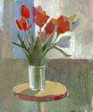 Oil painting tulips. Impression oil painting tulip flowers
