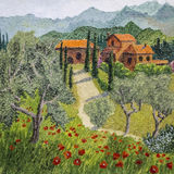 Oil painting of tuscan landscape Stock Images