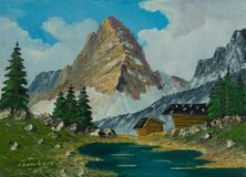 Almen and river before a pointed and high mountain. Oil painting of two alpine huts and a river before a pointed and high mountain vector illustration